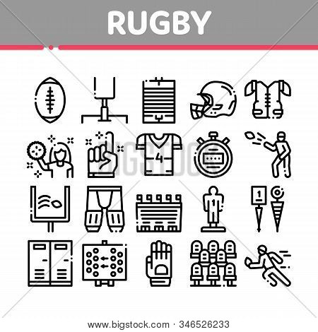 Rugby Sport Game Tool Collection Icons Set Vector Thin Line. Rugby Ball And Gates, Athlete Protectio