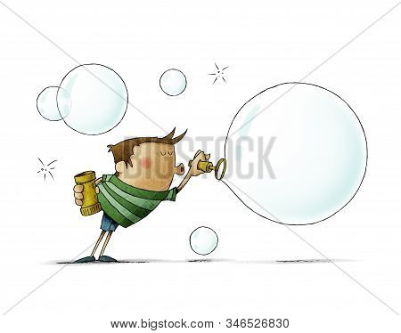 Funny Illustration Of A Boy Blowing Hard To Make A Big Soap Bubble. Isolated