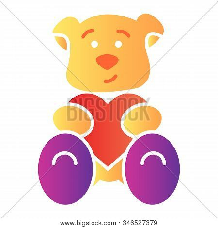 Teddy Bear With Heart Flat Icon. Romantic Teddy Bear Toy Illustration Isolated On White. Cute Black