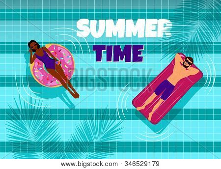 Summer, african american and guy in the pool. Hello Summer, summer time, summer day, summer day background, summer banners, summer flyer, summer design, summer with people in the pool, vector illustration.  Eps10 vector illustration
