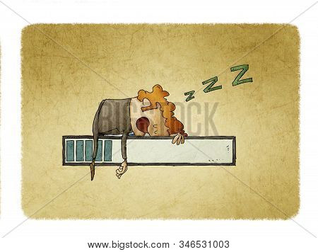 Illustration Of A Character Who Is Asleep On Top Of A Progress Bar. Concept Of Slowness And Waiting.