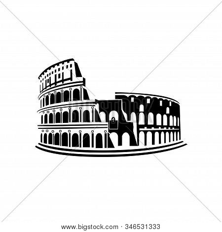 Landmark Of Italy Coliseum. Vector Icon On A White Background.