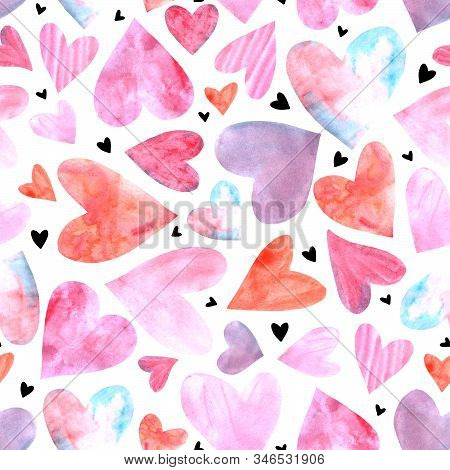 Seamless Pattern With Watercolor Hearts. Romantic Love Hand Drawn Backgrounds Texture. For Greeting