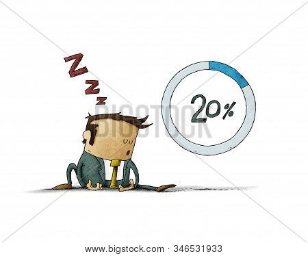 Illustration Of A Character Who Is Asleep On The Floor Beside A Loading Wheel With 20 Percent. Conce