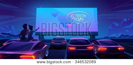Couple At Car Cinema. Romantic Dating In Drive-in Theater With Automobiles Stand In Open Air Parking