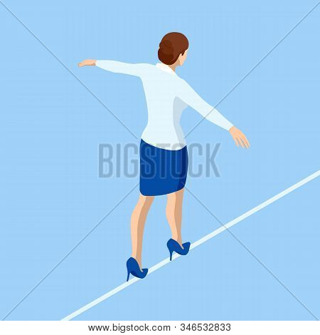 Isometric Business Woman Tightrope Walker Is On The Rope. Risk Challenge In Business, Business Risk,