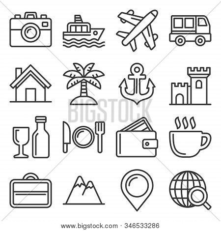 Travel And Transport Icons Set. Line Style Vector