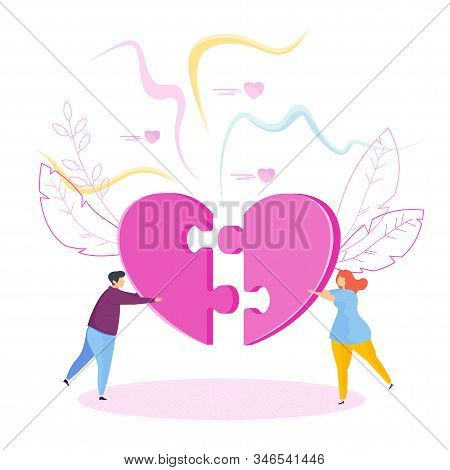 Man And A Woman Assemble Huge Jigsaw Puzzle In Shape Of A Heart. Metaphor Of Love, Reciprocity And U