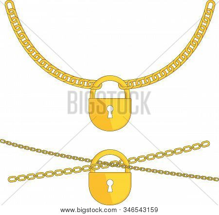 Golden Padlock On A Chain. Symbol Of Security And Private Property. Slavery, Dependence, Lack Of Fre