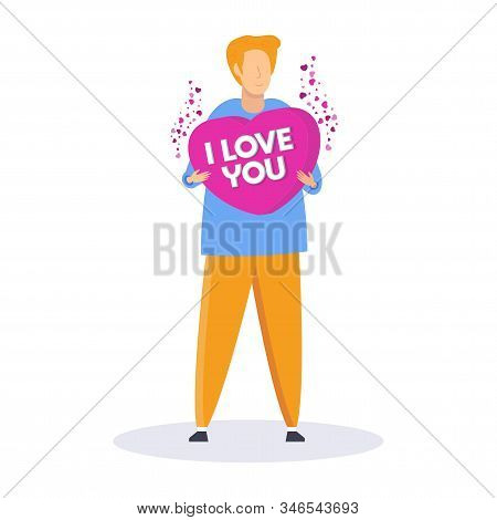 Man Holds A Heart. I Love You. Search For A Partner, Lover. Date Invitation. A Romantic Offer. Lonel