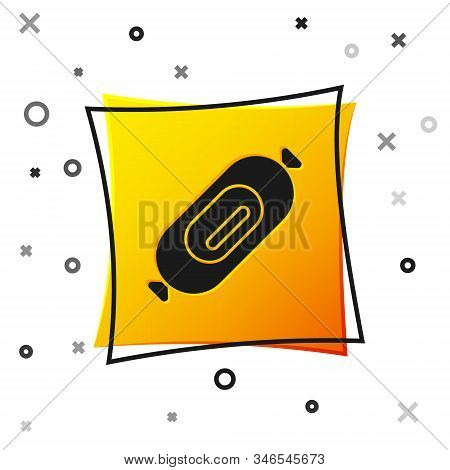Black Salami Sausage Icon Isolated On White Background. Meat Delicatessen Product. Yellow Square But
