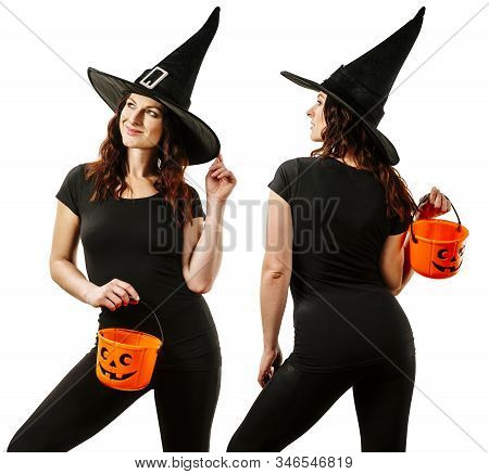 Beautiful Young Woman During Halloween Wearing A Blank Black T-shirt And Holding Plastic Pumpkin Pai