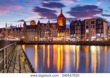 Old Town Of Gdansk, Dlugie Pobrzeze, Bazylika Mariacka Or St Mary Church, City Hall And Motlawa Rive