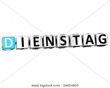 3D Tuesday In German Language Button Click Here Block Text
