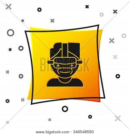 Black Virtual Reality Glasses Icon Isolated On White Background. Stereoscopic 3d Vr Mask. Yellow Squ