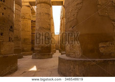 Ancient Ruins Of The Karnak Temple In Luxor (thebes), Egypt. The Largest Temple Complex Of Antiquity