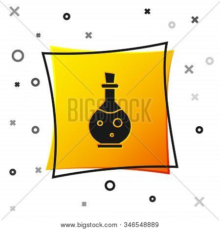 Black Glass Bottle With Magic Elixir Icon Isolated On White Background. Computer Game Asset. Yellow