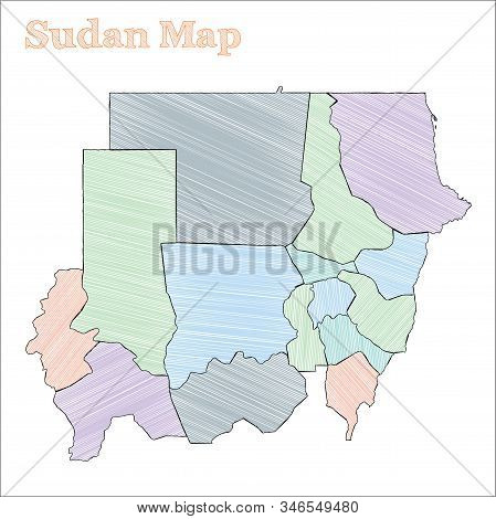 Sudan Hand-drawn Map. Colourful Sketchy Country Outline. Vector Illustration.