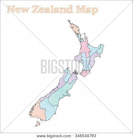 New Zealand Hand-drawn Map. Colourful Sketchy Country Outline. Vector Illustration.