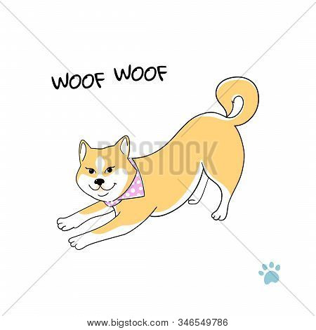 Cute Akita Dog. Happy Dog Barks, Shouts Woof Illustration On White Background - Card, Sticker, Patch