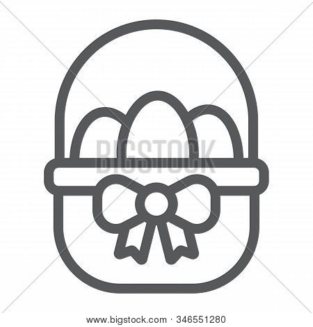 Easter Basket With Eggs Line Icon, Easter And Holiday, Eggs In Basket Sign, Vector Graphics, A Linea