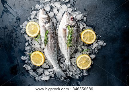 Chilled Raw Sea Bass And Dorado Fish With Lemon And Rosemary On Ice, On A Stone Background
