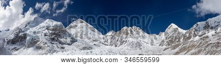 Mount Everest Panorama. Panoramic View Over The Mount Everest Summit From Everest Base Camp. Mount E