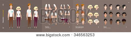 Casual Clothes Style. Guy And Girl Cartoon Characters For Animation. Default Body Parts Poses With F