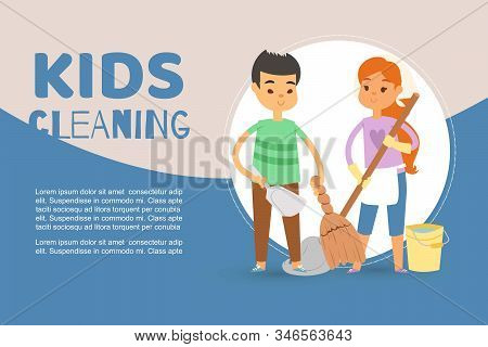 Children Busy Cleaning Up Apartments And Helping Mother Vector Banner Illustration. Cartoon Boy Hold
