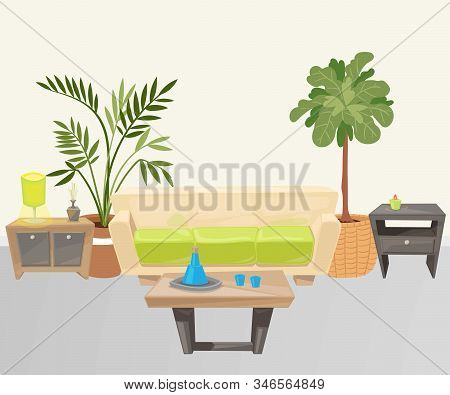 Living Room With Furniture Cartoon Vector Illustration. Living Room With Sofa, Lamp And Home Tropica