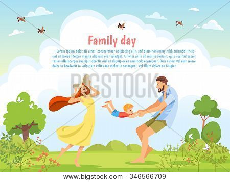 Happy Family Playing In The Nature On A Sunny Day. Poster, Card Family Day. Concept Of Friendly Fami