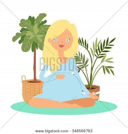 Pregnant Woman Meditation, Keep Calm And Relax Zen Balance Lotus Yoga Vector Illustration. Young Pre