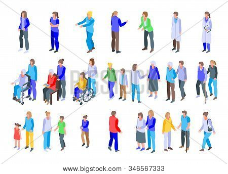 Caregiver Icons Set. Isometric Set Of Caregiver Vector Icons For Web Design Isolated On White Backgr