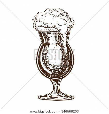 Vector Hand Drawn Tulip Beer Glass Full Of Dark Beer With Liquid Foam. Beautiful Vintage Beer Mug Or