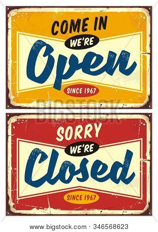 Open And Closed Door Signs Set  Welcoming Shop Or Store Visitors. Colorful Vector Collection Of Reta