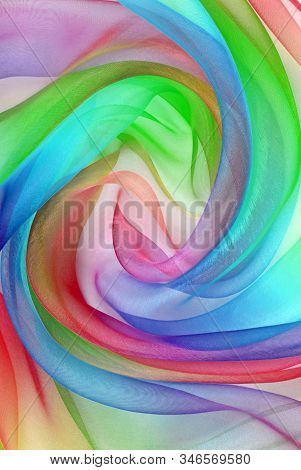 Twisted Twirl Of Organza Fabric Multicolour Texture