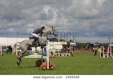 horse jumping at the Anglesey Show in North Wales poster