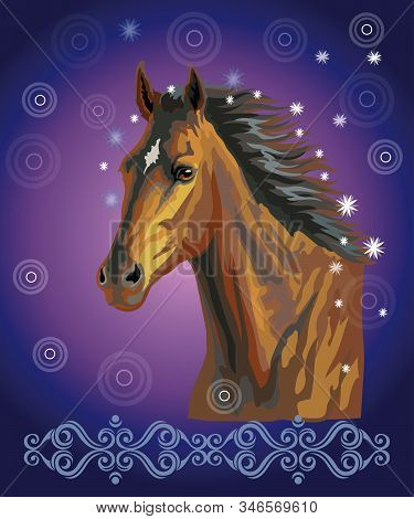 Bay Horse, Vector Colorful Realistic Illustration. Portrait Of Running Bay Horse With Stars In Long