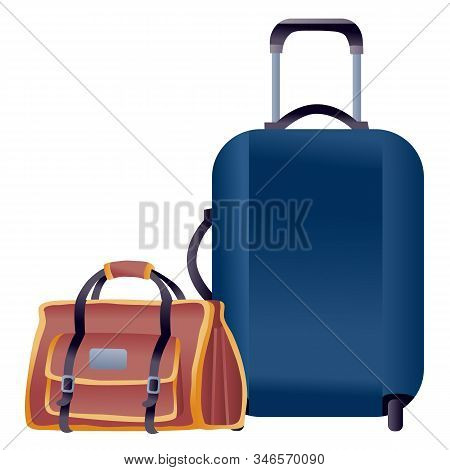 Luggage From A Suitcase And A Large Bag For Hand Luggage, Isolated Object On A White Background,