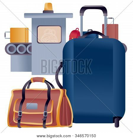 Luggage From A Suitcase And A Large Bag For Hand Luggage Stands In Front Of The Tape On Which Suitca
