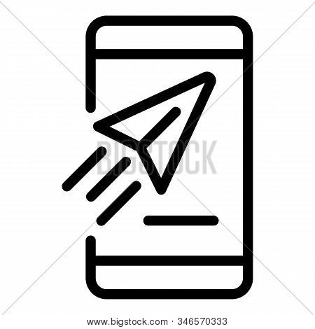 Smartphone Messenger Icon. Outline Smartphone Messenger Vector Icon For Web Design Isolated On White