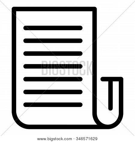Storyteller Paper Icon. Outline Storyteller Paper Vector Icon For Web Design Isolated On White Backg
