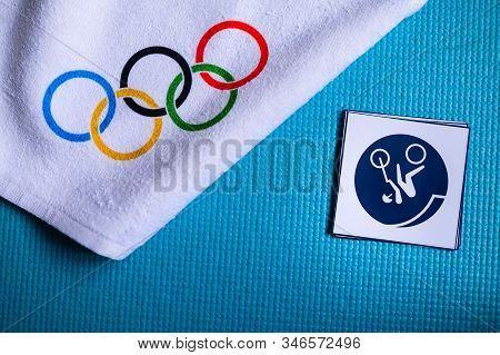 Tokyo, Japan, January. 20. 2020: Cycling Bmx Freestyle Pictogram And Olympic Rings. Original Wallpap