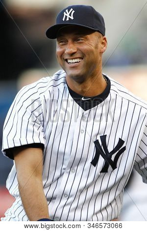 BRONX, NY - MAY 10: New York Yankees shortstop Derek Jeter (2) smiles before the game against the Tampa Bay Rays on May 10, 2012 at Yankee Stadium.