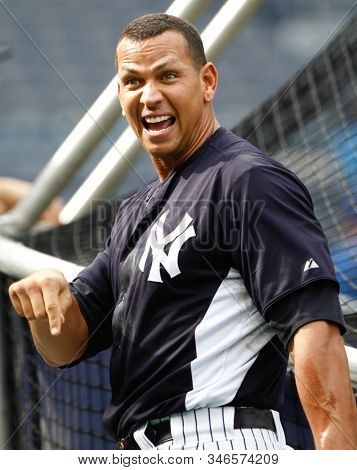 BRONX, NY - JUN 9: New York Yankees third baseman Alex Rodriguez (13) smiles during batting practice before the game against the New York Mets on June 9, 2012 at Yankee Stadium.