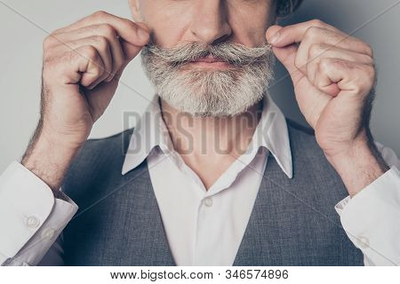 Closeup Cropped Photo Of Aged Business Man Touch Perfect Groomed Bristle Mustache After Salon Stylin