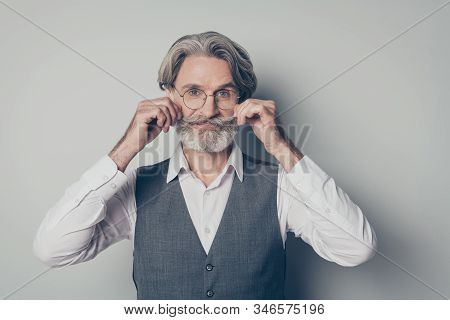 Photo Of Aged Macho Business Man Boss Touching Perfect Groomed Bristle Mustache After Salon Styling
