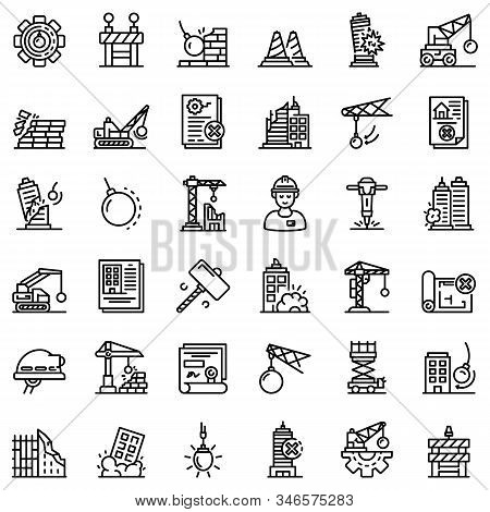 Demolition Work Icons Set. Outline Set Of Demolition Work Vector Icons For Web Design Isolated On Wh