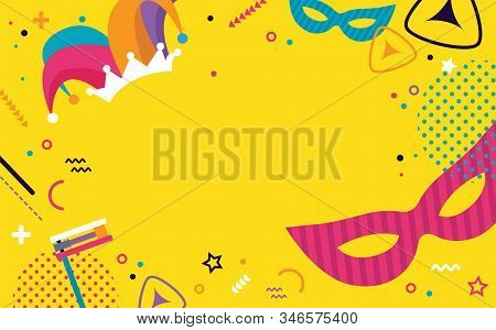 Happy Purim. Jewish Holiday Background And Carnival Funfair Banner With Carnival Masks And Tradition