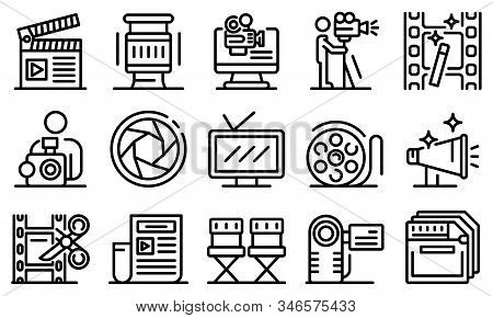 Cameraman Icons Set. Outline Set Of Cameraman Vector Icons For Web Design Isolated On White Backgrou